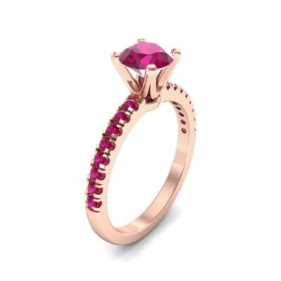 Pave Four Prong Ruby Engagement Ring (1.08 Carat)