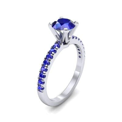 Pave Four Prong Blue Sapphire Engagement Ring (1.08 Carat)