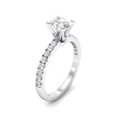 Pave Four Prong Crystal Engagement Ring (1.08 CTW)