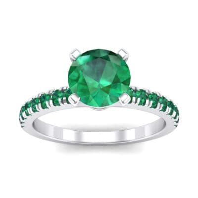 Pave Four Prong Emerald Engagement Ring (1.08 Carat)