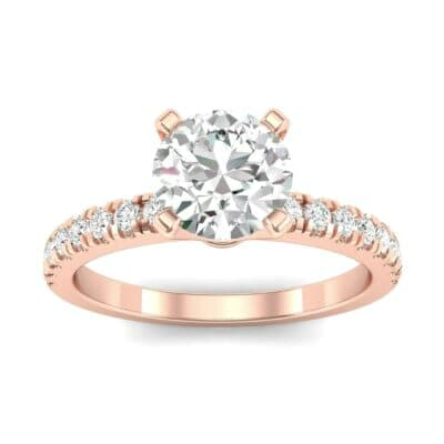 Pave Four Prong Diamond Engagement Ring (1.08 Carat)