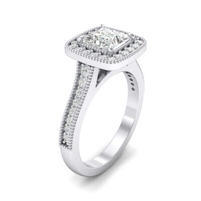 Beaded Cathedral Princess-Cut Halo Crystal Engagement Ring (0.71 CTW)