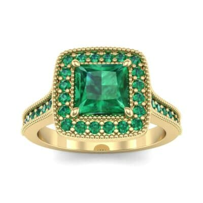 Beaded Cathedral Princess-Cut Halo Emerald Engagement Ring (1 Carat)