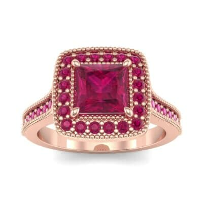 Beaded Cathedral Princess-Cut Halo Ruby Engagement Ring (1 Carat)