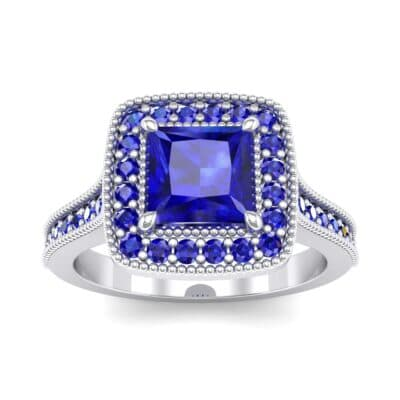 Beaded Cathedral Princess-Cut Halo Blue Sapphire Engagement Ring (1 Carat)