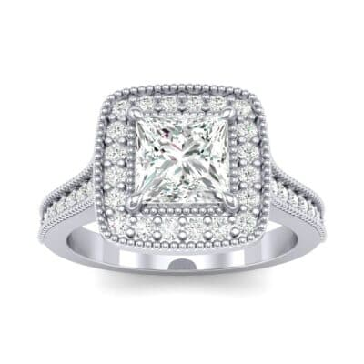 Beaded Cathedral Princess-Cut Halo Diamond Engagement Ring (1 Carat)