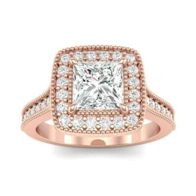 Beaded Cathedral Princess-Cut Halo Diamond Engagement Ring (1 Carat)