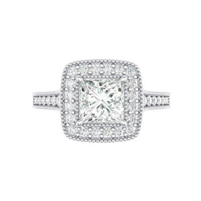 Beaded Cathedral Princess-Cut Halo Crystal Engagement Ring (0.71 CTW) Top Flat View