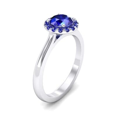 Tapered Open Gallery Halo Blue Sapphire Engagement Ring (0.77 Carat)