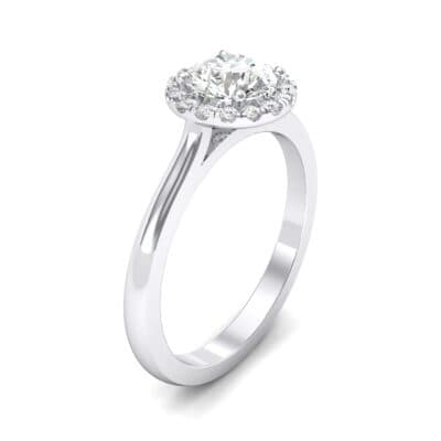 Tapered Open Gallery Halo Crystals Engagement Ring