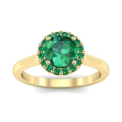 Tapered Open Gallery Halo Emerald Engagement Ring (0.77 Carat)