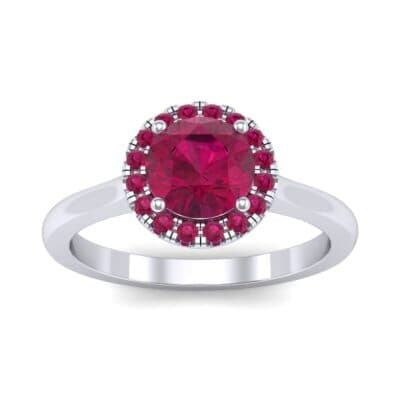 Tapered Open Gallery Halo Ruby Engagement Ring (0.77 Carat)