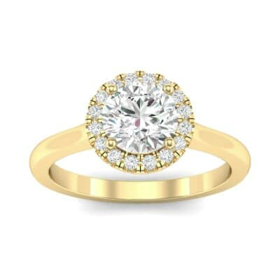 Tapered Open Gallery Halo Diamond Engagement Ring (0.77 Carat)