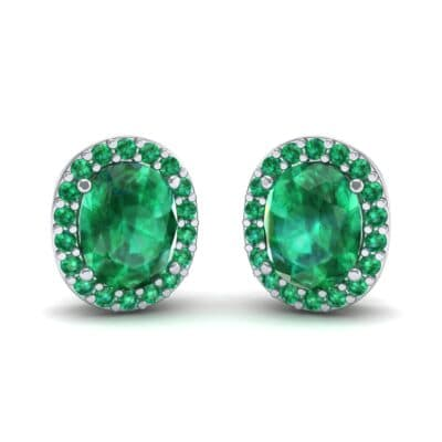 Oval Halo Emerald Earrings (1.04 Carat)