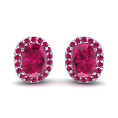 Oval Halo Ruby Earrings (1.04 Carat)