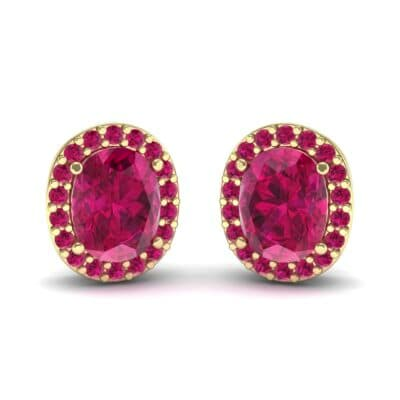 Oval Halo Ruby Earrings (1.04 Carat)