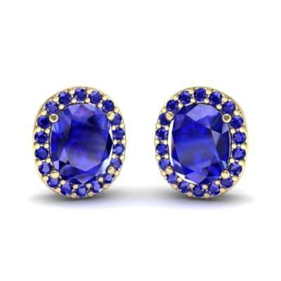 Oval Halo Blue Sapphire Earrings (1.04 Carat)