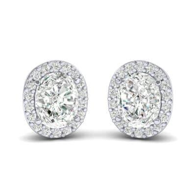Oval Halo Diamond Earrings (1.04 Carat)