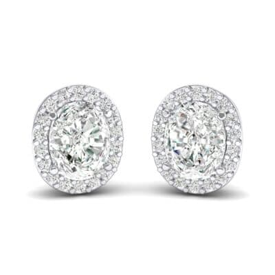 Oval Halo Crystals Earrings (0.18 Carat)