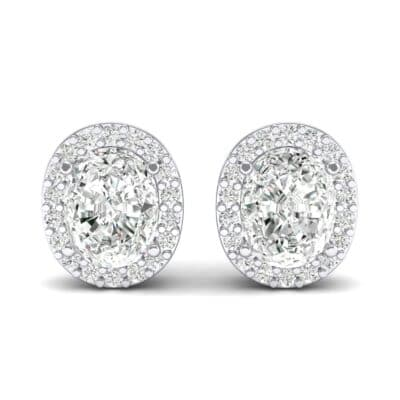 Oval Halo Crystal Earrings (0.18 CTW) Side View