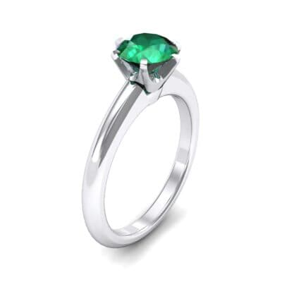 Low-Set Royale Six-Prong Solitaire Emerald Engagement Ring (0.84 Carat)