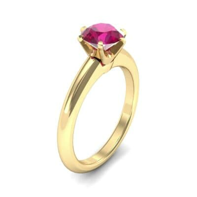 Low-Set Royale Six-Prong Solitaire Ruby Engagement Ring (0.84 Carat)