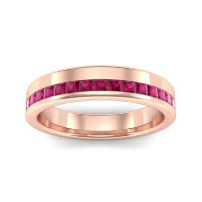 Horizon Princess-Cut Ruby Wedding Ring (0.38 Carat)