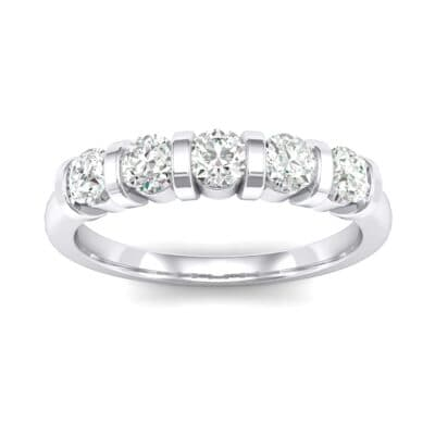 Round Bar-Set Five-Stone Crystals Ring