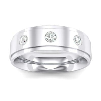 Stepped Edge Round-Cut Trio Crystals Ring