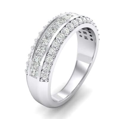 Three-Row Split Band Crystals Ring