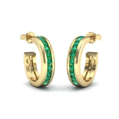 Semi Hoop Emerald Earrings (0.22 Carat)