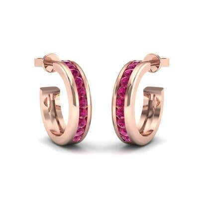 Semi Hoop Ruby Earrings (0.22 Carat)