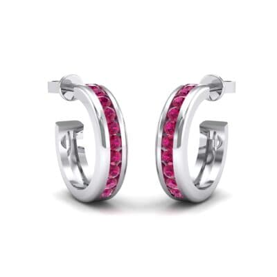 Semi Hoop Ruby Earrings (0.22 Carat)