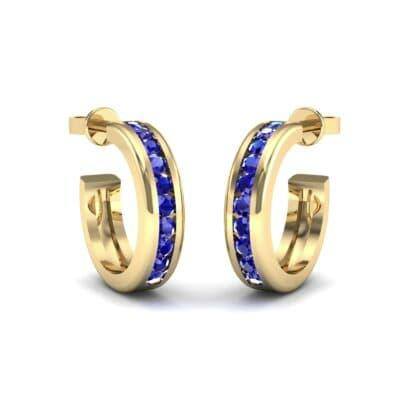 Semi Hoop Blue Sapphire Earrings (0.22 Carat)
