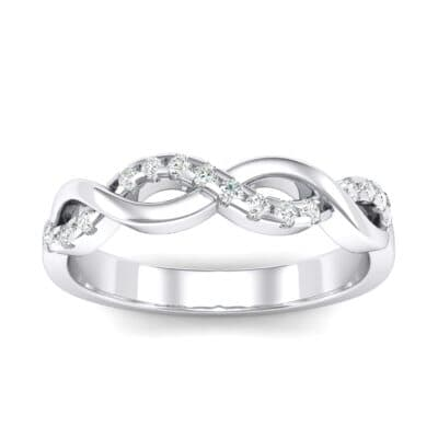 Half Pave Twist Crystals Ring