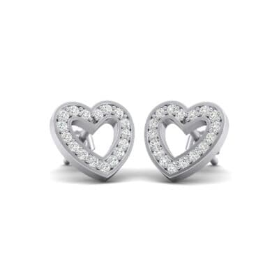Pave Heart Crystals Earrings (0.4 Carat)