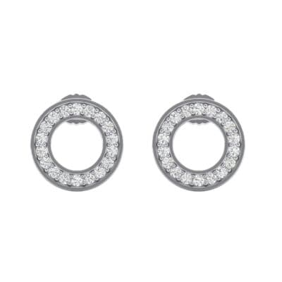 Pave Circle Crystal Earrings (0.19 CTW) Side View