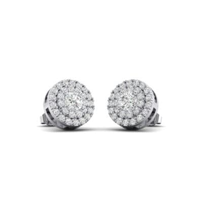 Double Halo Prong-Set Crystals Earrings