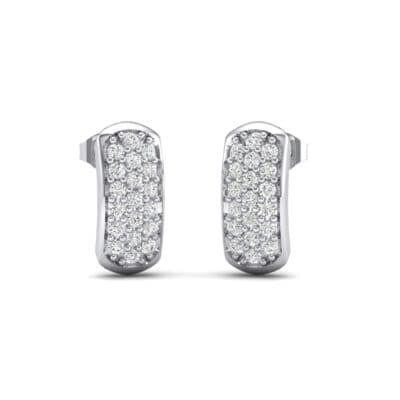 Curved Rectangle Pave Crystals Earrings