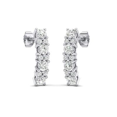 Curved Crystals Bar Earrings (0.22 Carat)