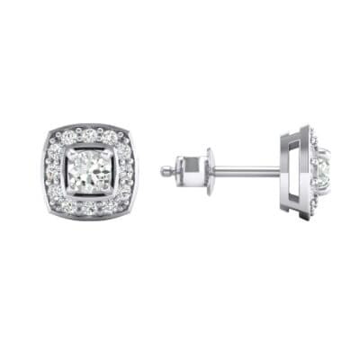 Square Halo Crystal Earrings (0 CTW) Top Dynamic View