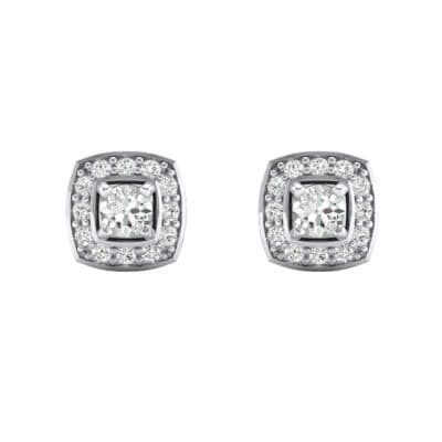 Square Halo Crystal Earrings (0 CTW) Side View