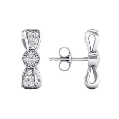 Pave Bow Tie Diamond Earrings (0.31 CTW) Top Dynamic View