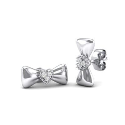 Pave Heart Bow Tie Crystals Earrings