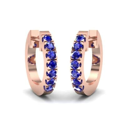 Accented Blue Sapphire Bar Earrings (0.27 Carat)