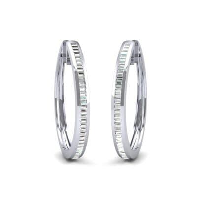Channel-Set Diamond Oval Hoop Earrings (0.91 Carat)