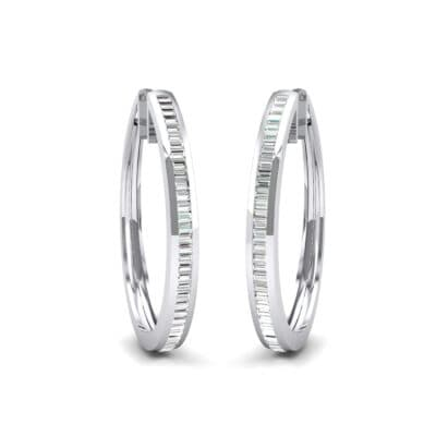 Channel-Set Crystals Oval Hoop Earrings (0.91 Carat)