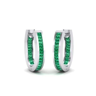 Huggie Channel-Set Emerald Earrings (1.02 Carat)