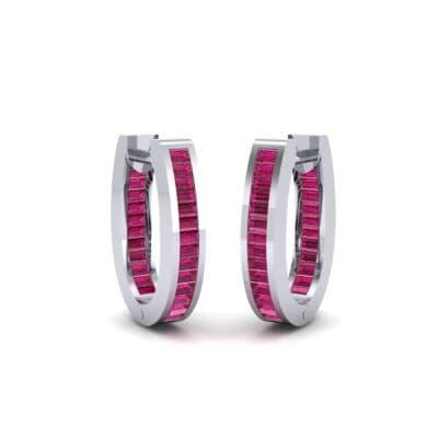 Huggie Channel-Set Ruby Earrings (1.02 Carat)