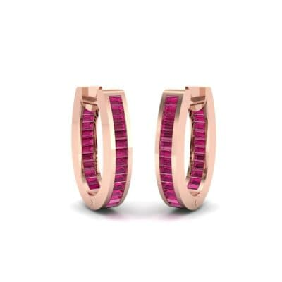 Huggie Channel-Set Ruby Earrings (1.02 Carat)